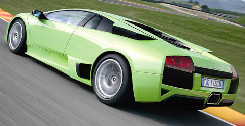 Green Lamborghini Murcielago LP640 back view