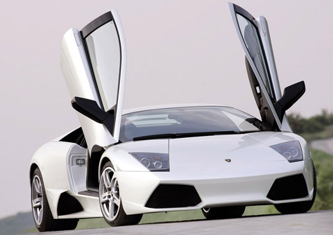 White Lamborghini Murcielago LP640 doors open
