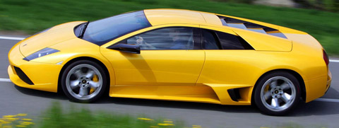 Yellow Lamborghini Murcielago LP640 side view