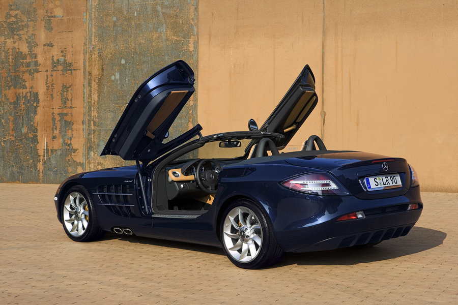 Mercedes Benz SLR McLaren Roadster Blue With Doors Open