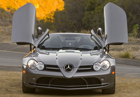 Mercedes-Benz SLR McLaren Roadster front view doors open