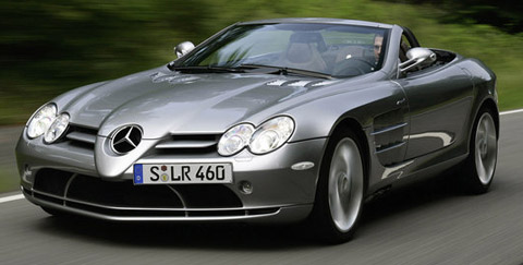 Mercedes-Benz SLR McLaren Roadster front view on the road