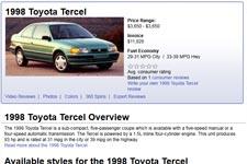 used toyota tercel for sale by owner buy cheap pre owned tercel car. Black Bedroom Furniture Sets. Home Design Ideas