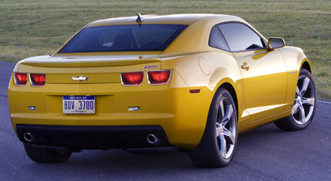 2010 Chevrolet Camaro SS yellow back view