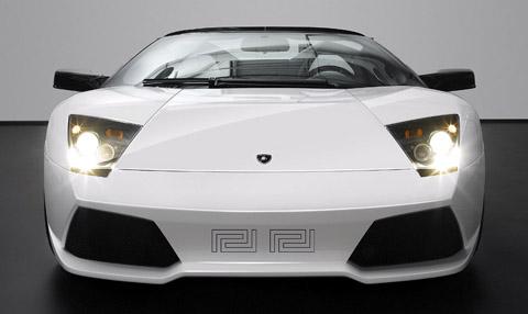 Lamborghini Murcielago LP640 Roadster Versace front view in white