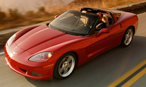 2005 Chevrolet Corvette C6 Coupe Red Roof Down Driving View