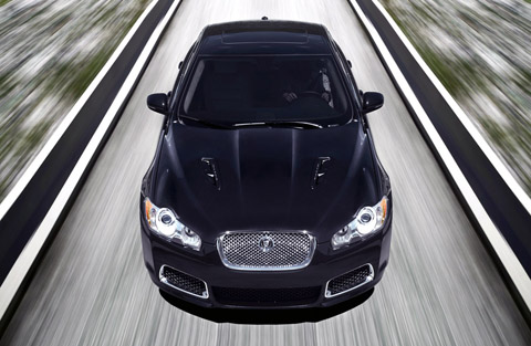 2010 Jaguar XFR mid front view on the road