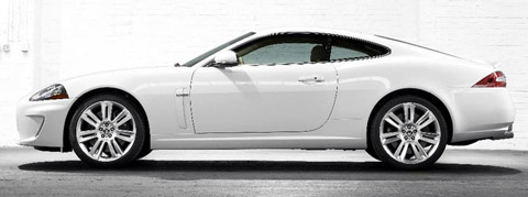 2010 Jaguar XKR white side view