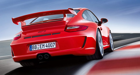 2010 Porsche 911 GT3 red back view
