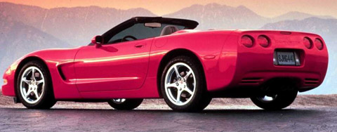 Chevrolet Corvette C5 red open roof