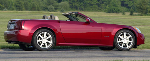 2004 Cadillac XLR red back side view