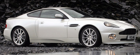 Aston Martin V12 Vanquish S white side view