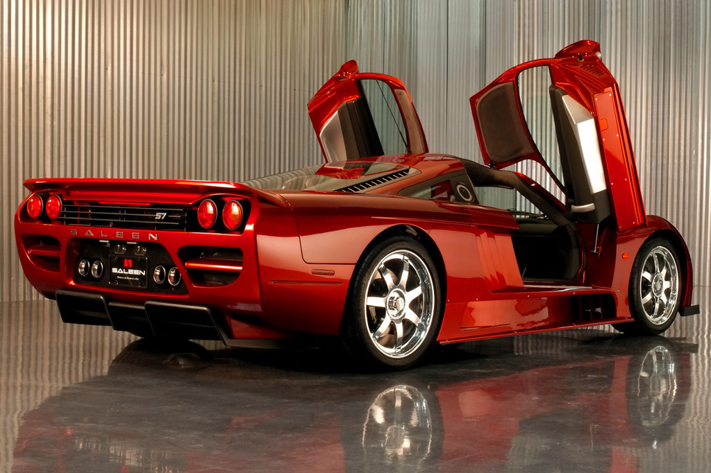 saleen s7 twin turbo orange back view