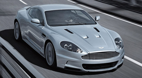 Aston Martin front view on the road