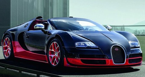 Black and red bugatti veyron